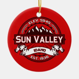 Sun Valley Logo Red Round Ceramic Decoration