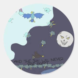 sun vs the moon! round sticker