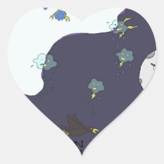 sun vs the moon! heart sticker