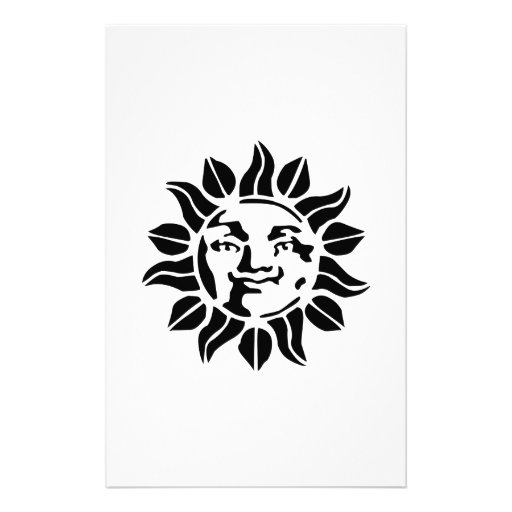 Sun with Face Stationery Design