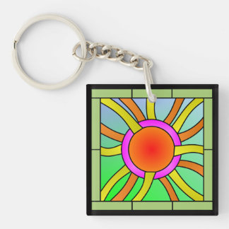 Sun with Rays Deco Art Key Ring
