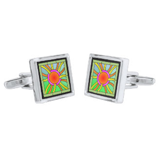 Sun with Rays Deco Art Silver Finish Cuff Links
