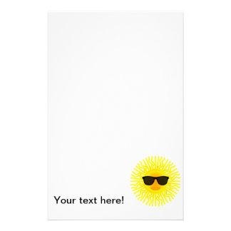 Sun with sunglasses cartoon stationery paper