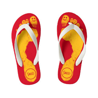 Sun Yellow Footprints Smiley-Toes™ Run-Around Red Flip Flops