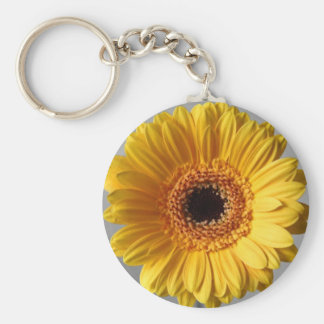 Sun Yellow Gerbera Basic Round Button Key Ring
