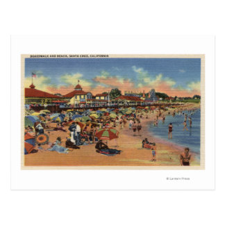 Sunbathers & Swimmers on Boardwalk & Beach Postcard