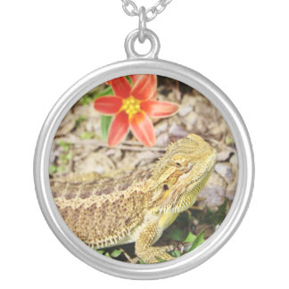 Sunbathing Bearded Dragon Silver Plated Necklace