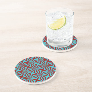 Sunbeams in Turquoise and Red tiled Coaster
