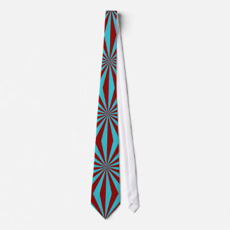 Sunbeams in Turquoise and Red tiled Tie