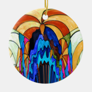 Sunbeams on the waterfall round ceramic decoration