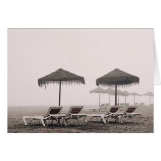 Sunbeds And Umbrella On Playamar Beach Card