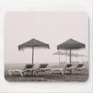 Sunbeds And Umbrella On Playamar Beach Mouse Mat