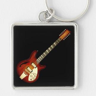 Sunburst 12 String Semi-hollow Guitar Keychains