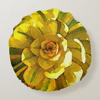 Sunburst Aeonium Succulent Square by Amy Vangsgard Round Cushion