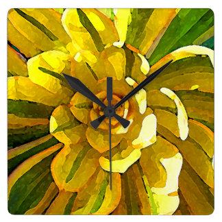 Sunburst Aeonium Succulent Square by Amy Vangsgard Wall Clocks