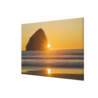 Sunburst And Haystack Rock At Cape Kiwanda Canvas Print