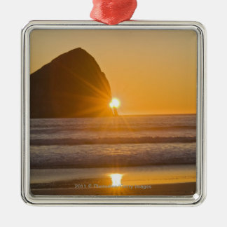 Sunburst And Haystack Rock At Cape Kiwanda Christmas Ornament
