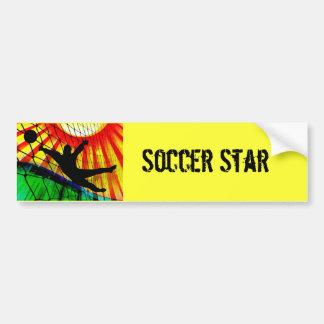 Sunburst and Net Soccer Goalie Car Bumper Sticker