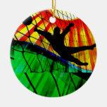Sunburst and Net Soccer Goalie Invite Round Ceramic Decoration
