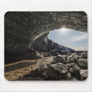 Sunburst at ice cave entrance mouse mat