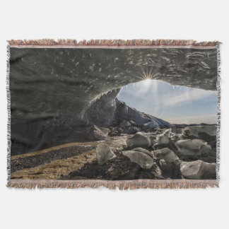 Sunburst at ice cave entrance throw blanket