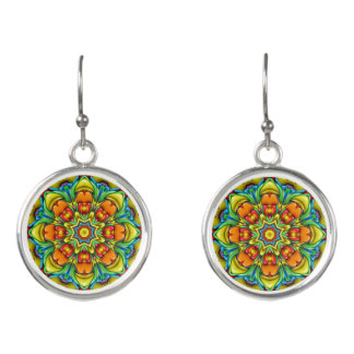 Sunburst Colorful Drop Earrings