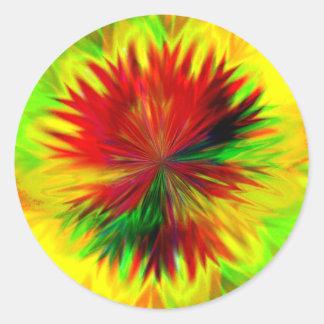 Sunburst Dahlia Round Sticker