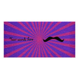 Sunburst glitter mustache customised photo card