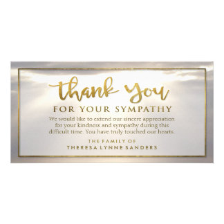 Sunburst Golden Thank You Custom Sympathy Card