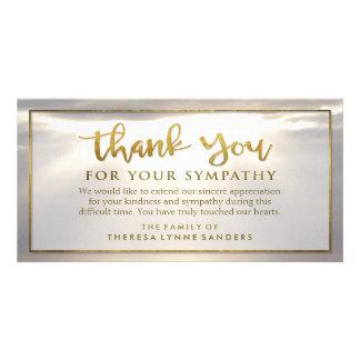 Sunburst Golden Thank You Custom Sympathy Card Customised Photo Card