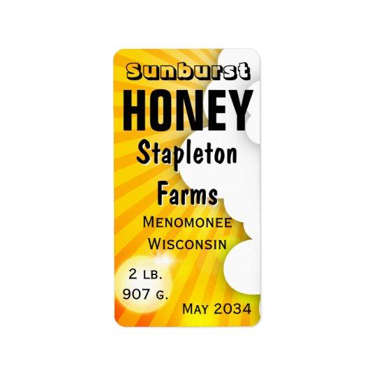 Sunburst Honey Jar Personalised Address Label