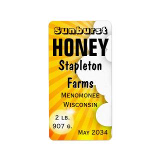 Sunburst Honey Jar Personalized Address Label