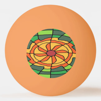 Sunburst on Green Checkerboard Ping Pong Ball