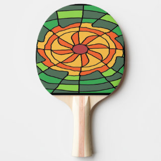 Sunburst on Green Checkerboard Ping Pong Paddle