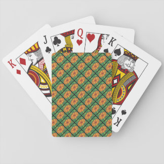 Sunburst on Green Checkerboard Playing Cards