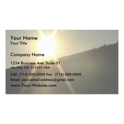 Sunburst Over A Crest Of A Hill. Business Card Template