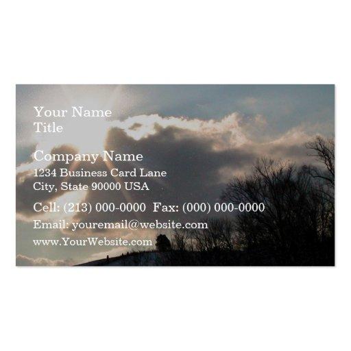 Sunburst Over Snowy Hill Business Card Templates