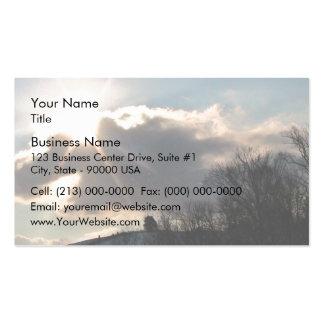 Sunburst Over Snowy Hill Business Card Template