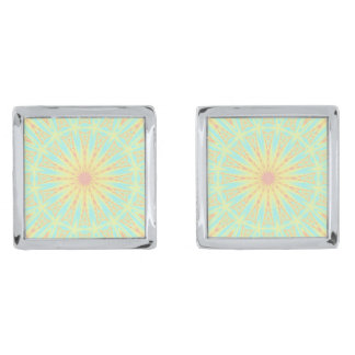 Sunburst Silver Finish Cufflinks