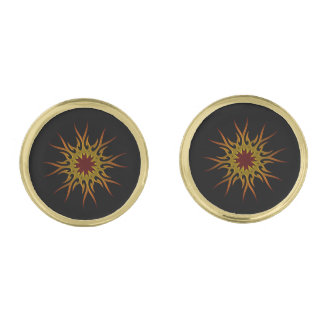 Sunburst Sun Rays Cufflinks Gold Finish Cufflinks