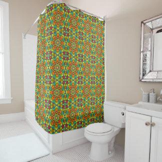 Sunburst   Vintage  Yellow Orange Shower Curtain