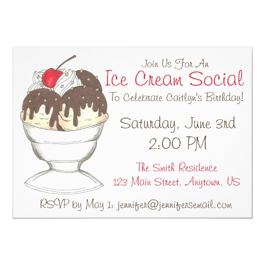 Sundae Ice Cream Social Birthday Party Invitations