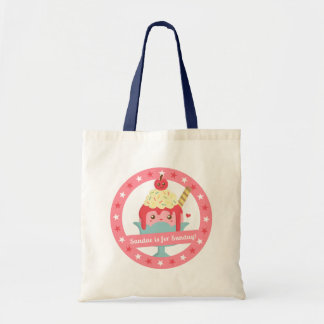 Sundae is for Sunday! Cute Cartoon Sundae Budget Tote Bag