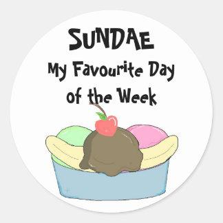 Sundae My Favourite Day.. Classic Round Sticker