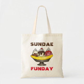 SUNDAE (SUNDAY) FUNDAY Ice Cream Banana Split Food Tote Bag
