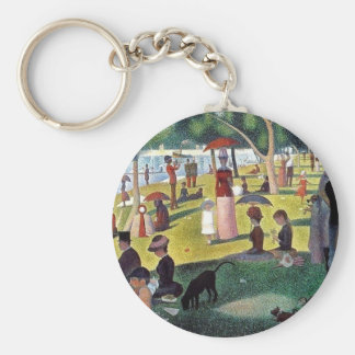 Sunday Afternoon La Grande Jatte - Georges Seuratt Basic Round Button Key Ring