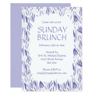 Sunday Brunch Lavender Leaves Party 13 Cm X 18 Cm Invitation Card