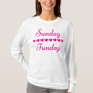 Sunday Funday Cute Funny Pink Heart T-Shirt