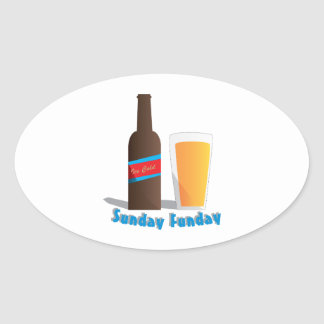 Sunday Funday Oval Sticker