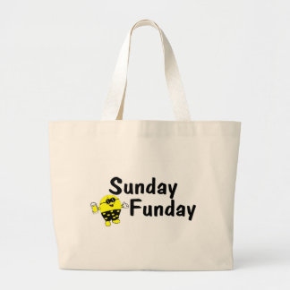 Sunday Funday Smiley Large Tote Bag